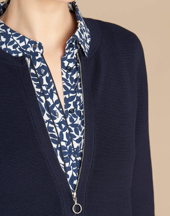 Napoli navy blue zipped ottoman jacket PhotoZ   1-2-3
