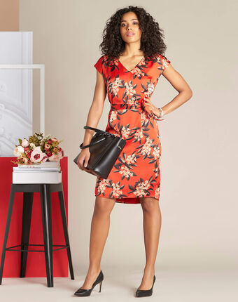 Paradis straight-cut red satin-effect printed dress red.