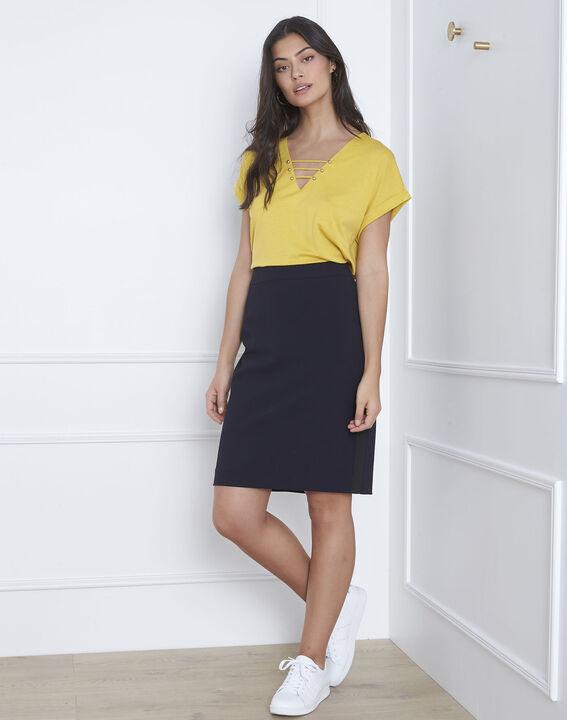 Fancy navy blue straight-cut skirt in microfibre PhotoZ | 1-2-3