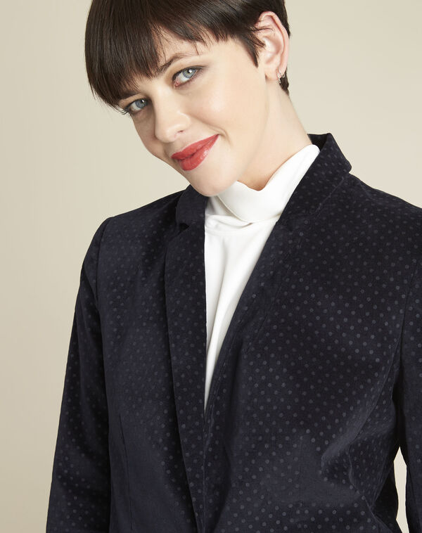 Demoiselle navy velvet polka dot jacket (2) - 1-2-3