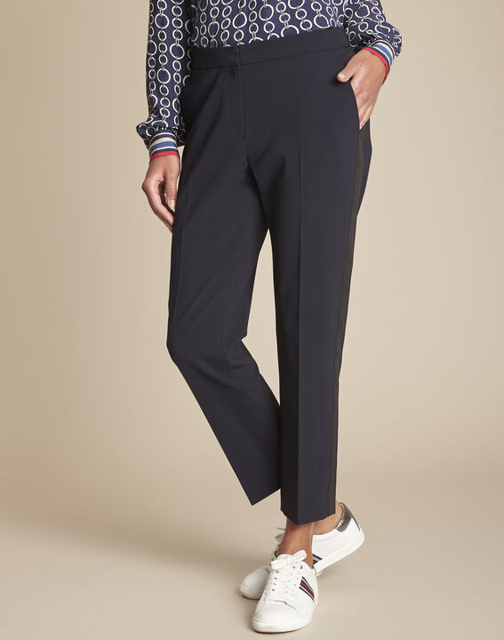 Marineblaue Damen-Anzughose mit Seitenstreifen Suzanne (1) - 1-2-3