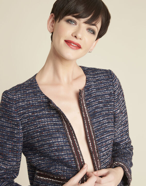 Charme cobalt blue jacket in a decorative knit (2) - 1-2-3
