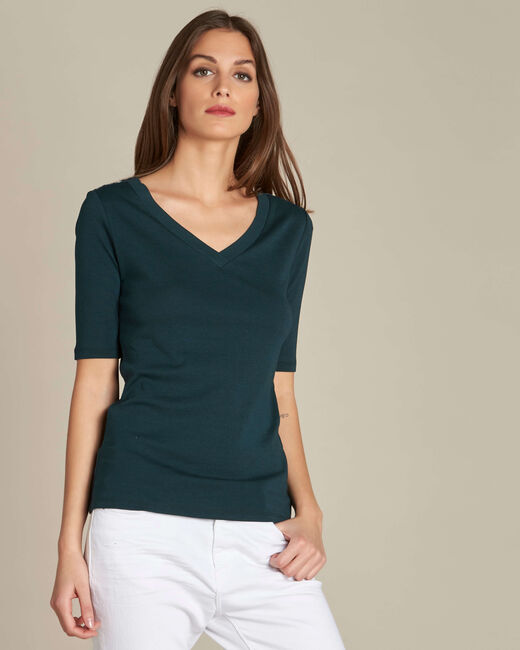 Ecume dark green T-shirt with studded detailing on the shoulders (2) - 1-2-3