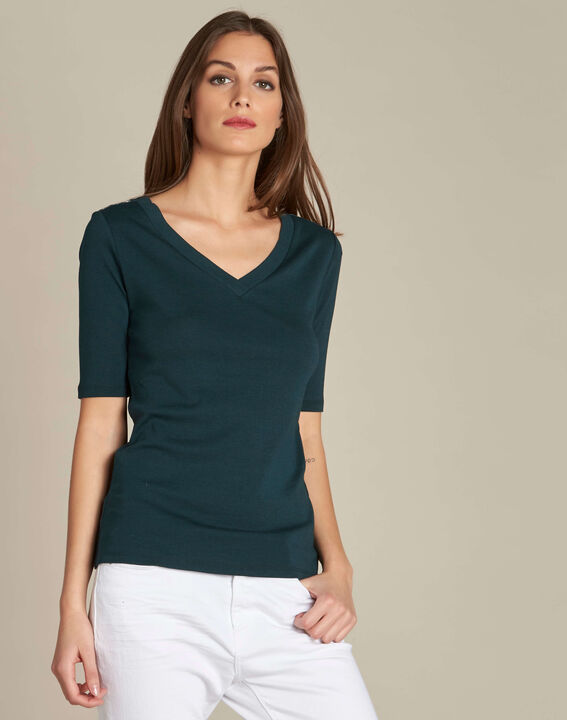 Ecume dark green T-shirt with studded detailing on the shoulders (3) - 1-2-3