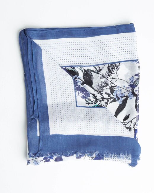 Foulard imprimé jardin bleu Adriane (2) - 1-2-3