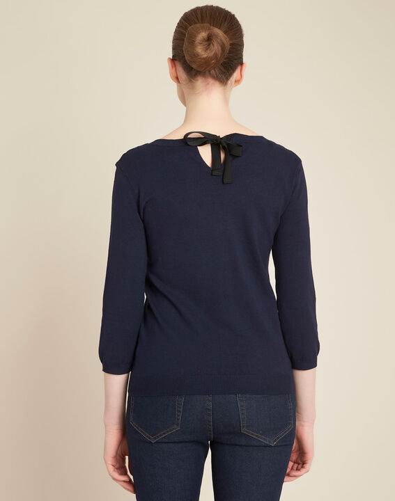 Nouba navy blue embroidered sweater with bow on the back (4) - 1-2-3