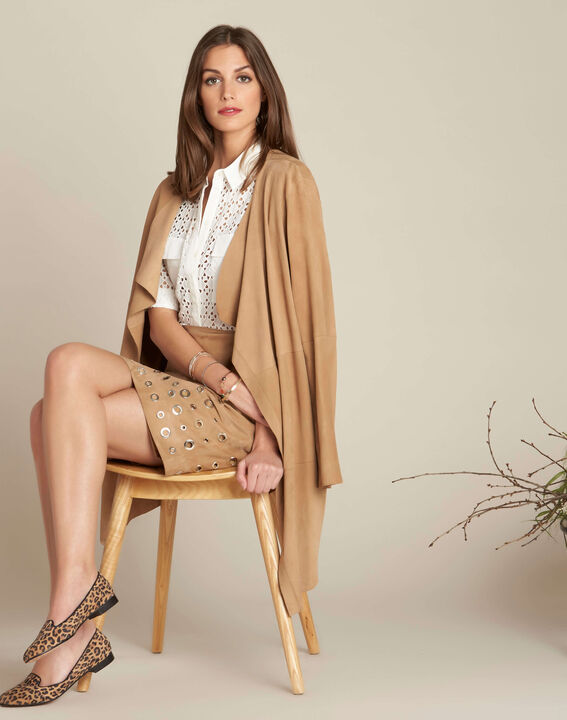 Lilou beige suede skirt (2) - 1-2-3