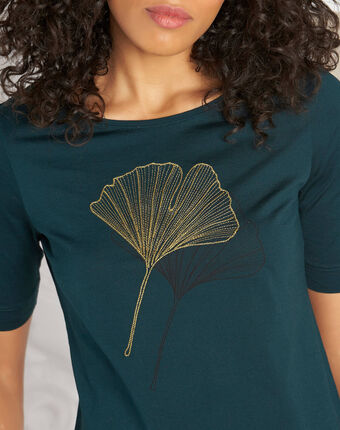 Eginko dark green t-shirt with golden embroidery forest green.