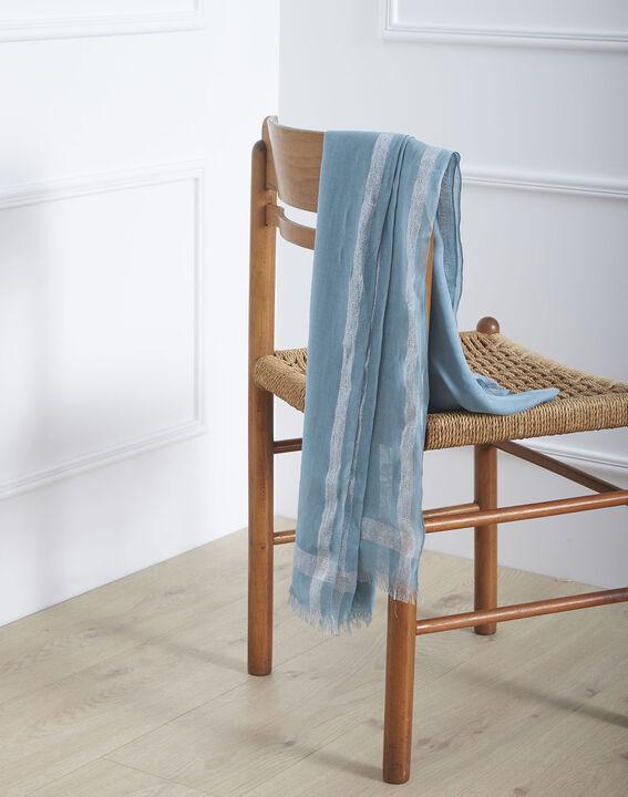 Foulard bleu ciel en viscose détail lurex Orelia (1) - Maison 123