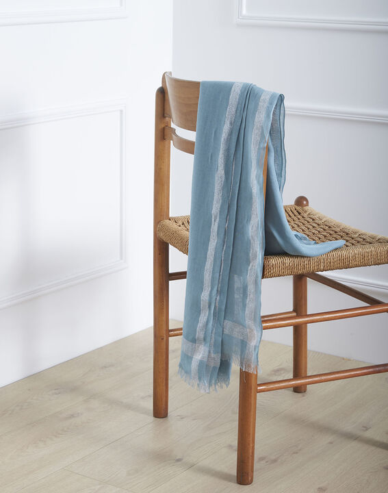 Foulard bleu ciel en viscose détail lurex Orelia PhotoZ | 1-2-3