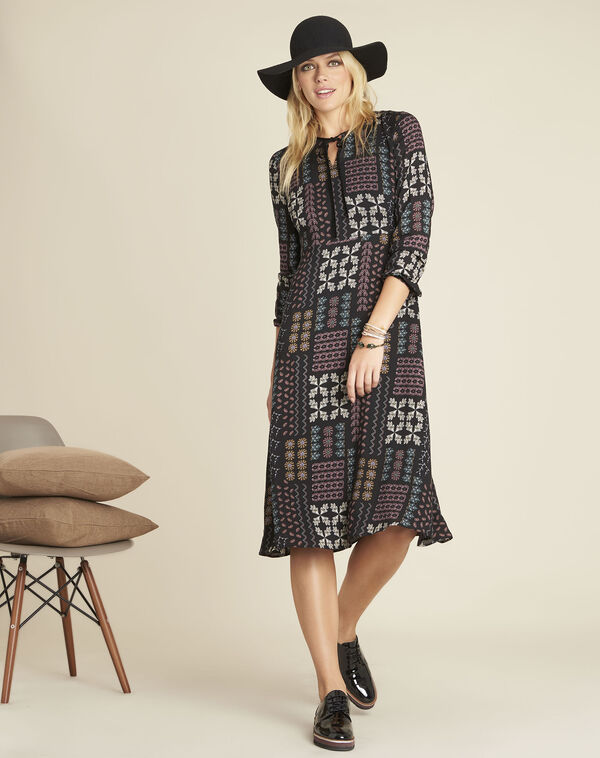 Dionne floral print dress with decorative neckline (2) - 1-2-3