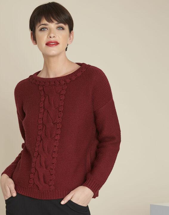 Pull acajou torsade laine mélangée Bolchoi (1) - Maison 123