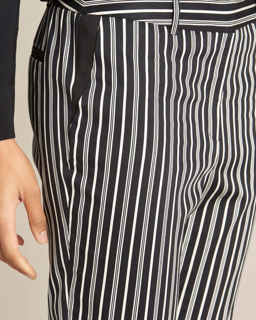 Pantalon cigarette en coton rayé noir Francis (1) - 1-2-3
