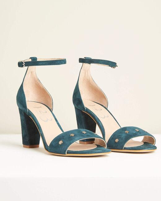 Sandales à talons effet daim vertes Klen (2) - 1-2-3