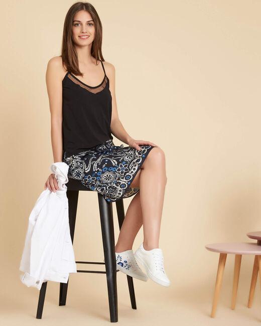 Luna navy printed skirt with tie (1) - 1-2-3