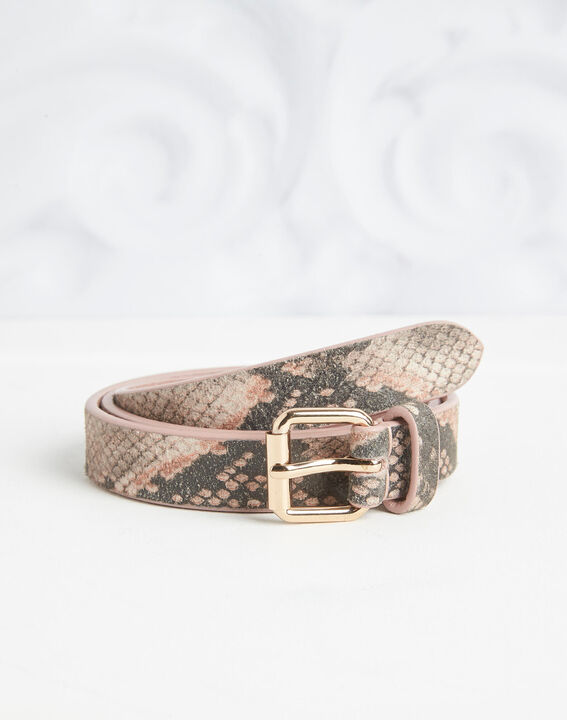 Rita pale pink python print leather belt (2) - 1-2-3