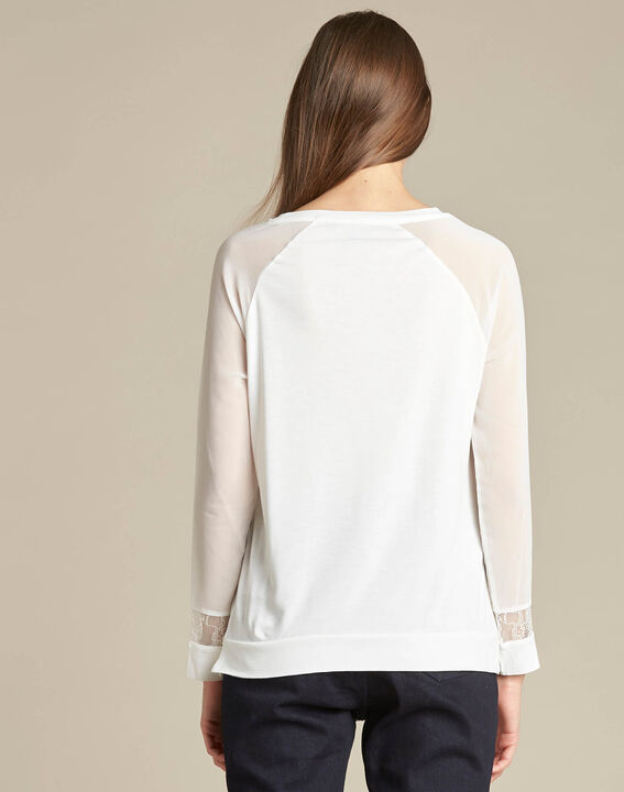 Ecaille fine white sweater in a dual fabric with lace (4) - 1-2-3