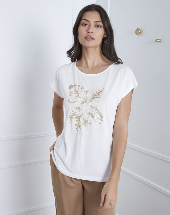 Tee-shirt écru brodé Pamplemousse PhotoZ | 1-2-3