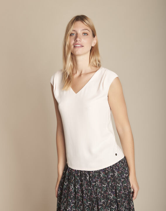 Pale rose bimaterial blouse with  Neptune V-neck (4) - Maison 123