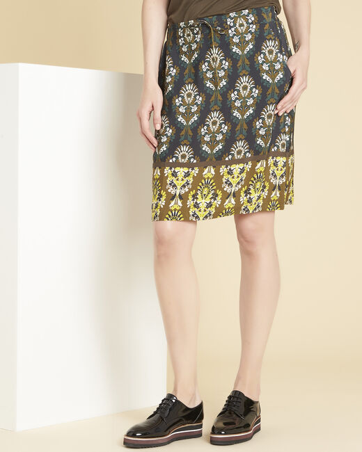 Luna straight black skirt with print (2) - 1-2-3
