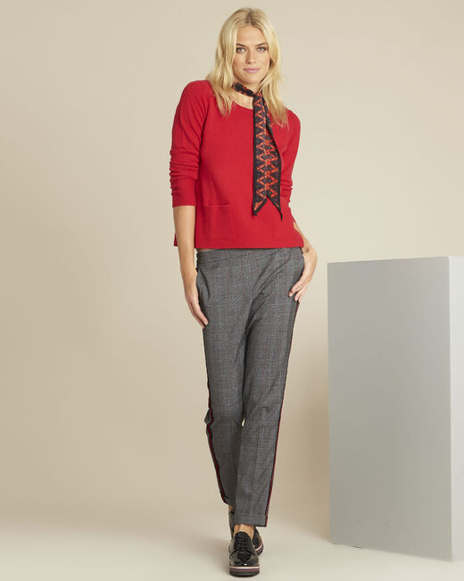 Brume red cashmere pullover with pockets (1) - 1-2-3