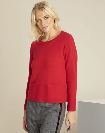 Pull rouge cachemire poches brume carmin.
