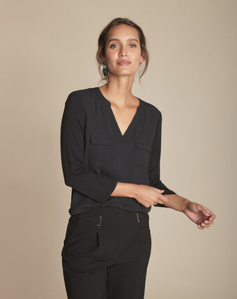 Genna v-neck black dual-fabric blouse black.