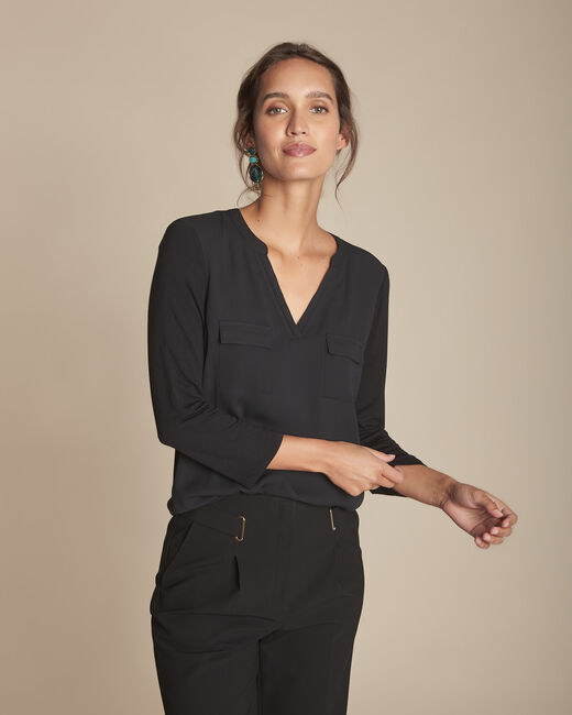 Genna V-neck black dual-fabric blouse (2) - 1-2-3