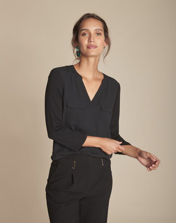 Genna V-neck black dual-fabric blouse (3) - 1-2-3