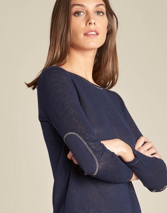Elin navy blue t-shirt in linen with golden topstitching PhotoZ | 1-2-3