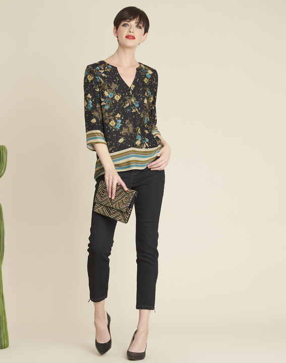 Schwarze Bluse mit Blumenprint Arletty (2) - 1-2-3