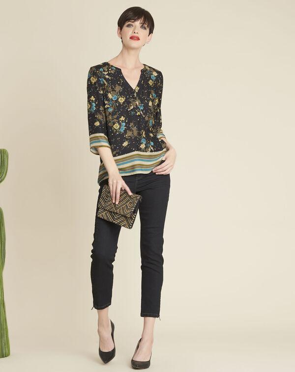 Zwarte blouse met bloemenprint Arletty (1) - 37653