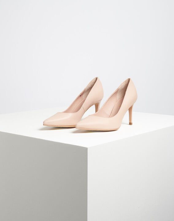 Kelly pale pink pointed-toe leather heels (4) - 1-2-3