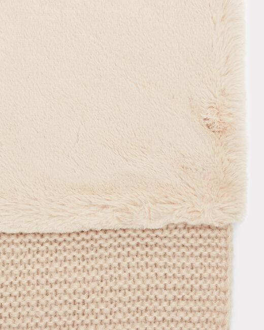 Echarpe crème ronde en laine mélangée Tigresse (2) - 1-2-3
