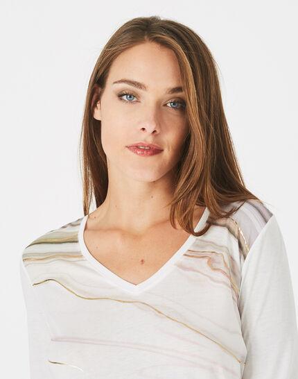 Tee-shirt blanc cassé col V imprimé doré Bakelite (1) - 1-2-3