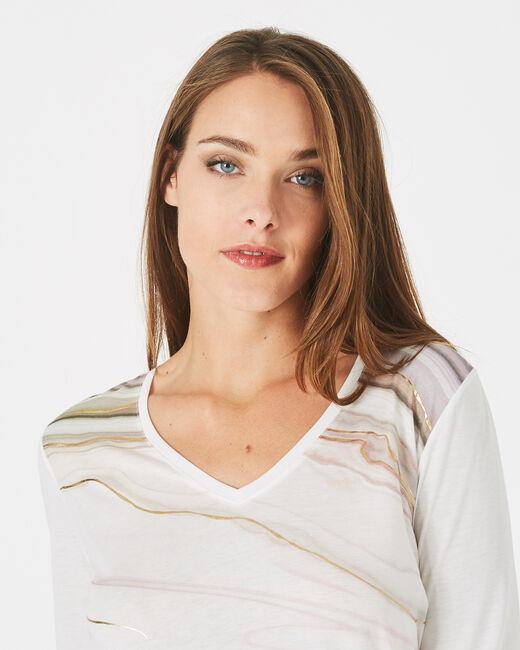 Tee-shirt blanc cassé col V imprimé doré Bakelite (2) - 1-2-3