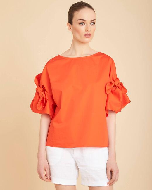Blouse orange manches fantaisie Garibaldi (2) - 1-2-3