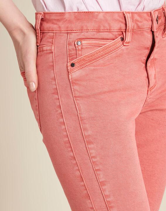 Korallenrote Slim-Fit-Jeans mit Reißverschlüssen an den Knöcheln Opera PhotoZ | 1-2-3