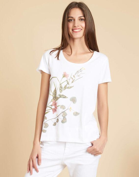 Wit T-shirt met bloemenmotieven Eloi (3) - 37653