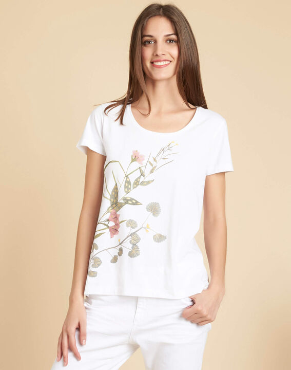 Tee-shirt blanc à motifs fleuris Eloi (3) - 1-2-3