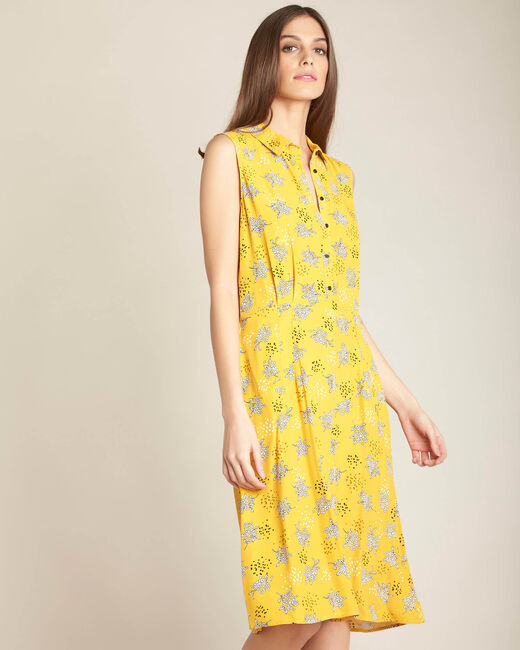 Gelbes Hemdkleid mit Print Patou (2) - 1-2-3