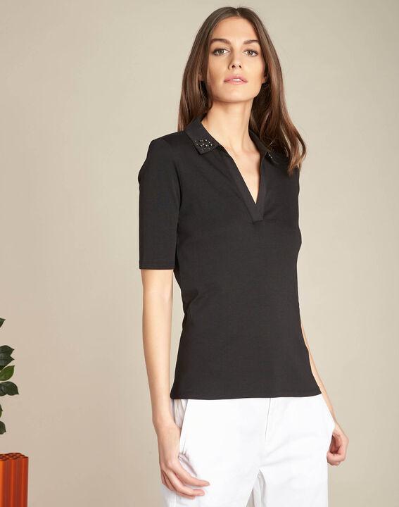 Tee-shirt noir col à strass Elias (3) - 1-2-3
