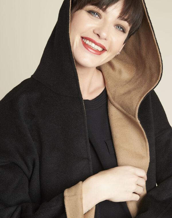 Manteau noir & camel à capuche double face Elan (2) - 1-2-3