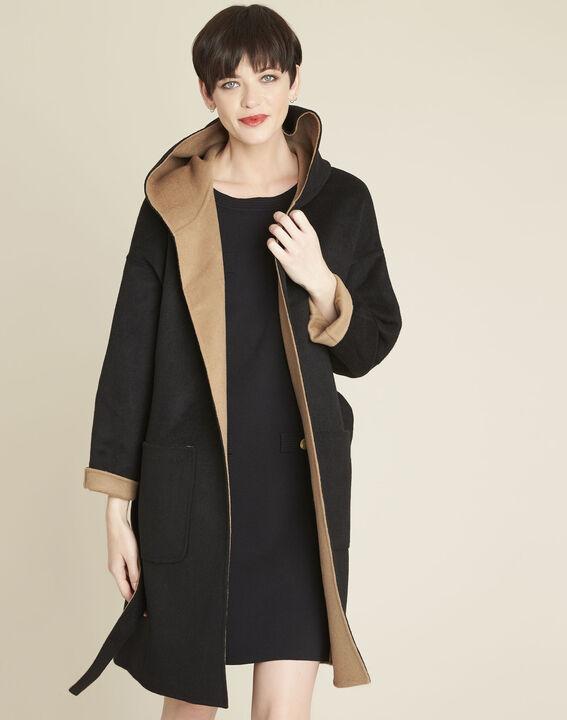 Manteau noir & camel à capuche double face Elan PhotoZ | 1-2-3