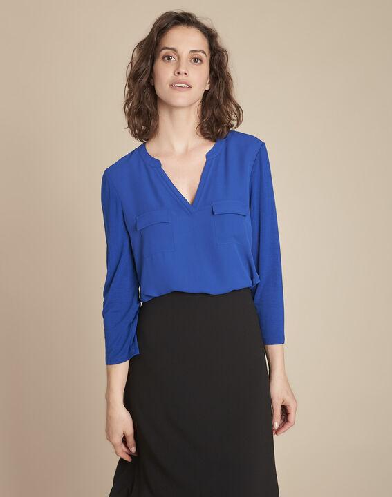 Blauwe blouse uit twee materialen Genna (1) - Maison 123