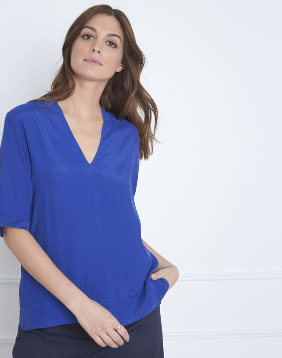 Blaue, weich fallende Bluse V-Ausschnitt Virginie (1) - Maison 123