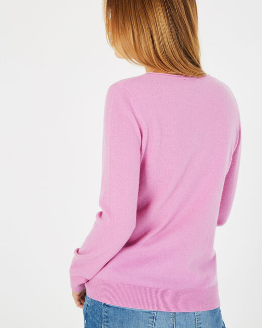 Pivoine lilac V-neck sweater in cashmere (2) - 1-2-3