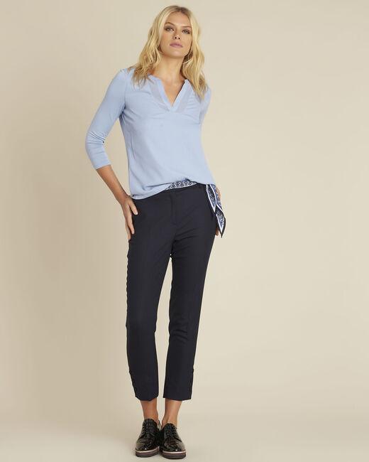 Azurblaue Bluse aus Bimaterial mit V-Ausschnitt Bianca (1) - 1-2-3