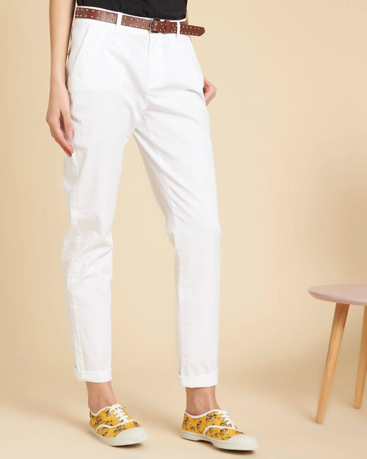Francis slim-cut cotton 7/8 length trousers in white (2) - 1-2-3