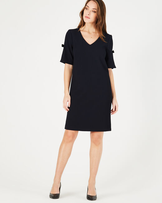 Bella navy blue dress in relief (2) - 1-2-3